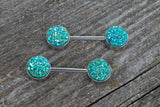 Teal Druzy Silver Nipple Barbells Nipple Piercings