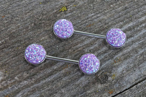 Light Purple Druzy Silver Nipple Barbells Nipple Piercings