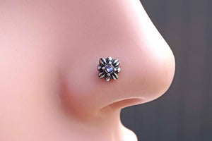 Purple Celtic Cross Nose Ring Double Cross Nose Stud