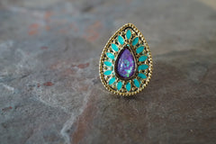 Purple Opal and Turquoise Gold Cartilage Earring Gold Tragus Earring
