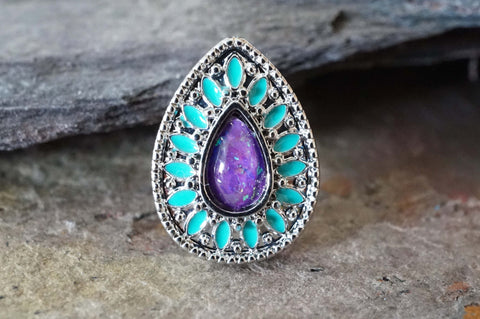 Purple Opal and Turquoise Cartilage Earring Tragus Earring