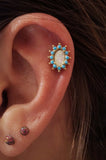 Opal and Turquoise Gold Cartilage Earring Gold Tragus Earring