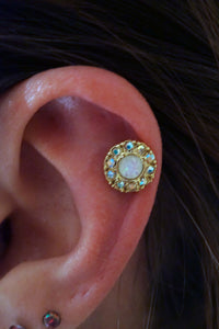 Opal Gold Cartilage Earring Gold Tragus Earring