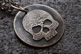 Sterling Silver Weathered Skull Pendant Necklace