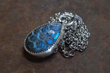 Carved Flower Blue Labradorite Pendant Sterling Silver Necklace