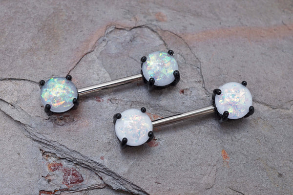 Opal Glitter Black Nipple Bar Jewelry Barbell