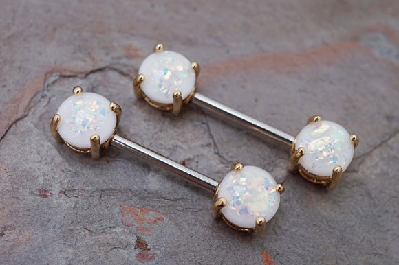 Opal Glitter Gold Nipple Bar Jewelry Barbell