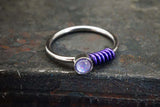 Glowing Purple Gem Silver Nose Hoop