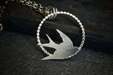 Flying Bird Barn Swallow Pendant Sterling Silver Necklace
