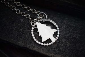 Pine Tree Pendant Sterling Silver Necklace