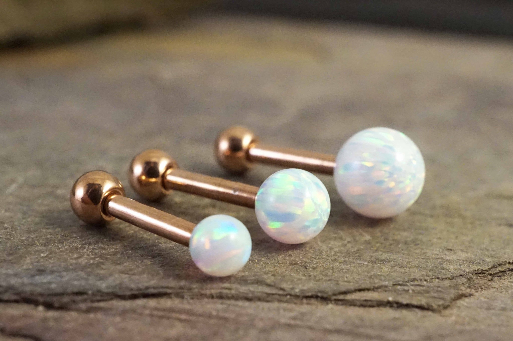 6294d4549 White Fire Opal Rose Gold Stud Cartilage Earring Tragus Helix Piercing –  Midnights Mojo
