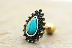Turquoise Teardrop Gold Cartliage Earring Tragus Helix Piercing