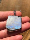 Raw Rough Rainbow Moonstone Necklace (#5)