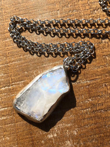 Raw Rough Rainbow Moonstone Necklace (#6)