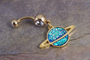 Saturn 14kt Gold Opal Belly Button Ring