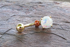 White Opal Glitter Gold Belly Button Ring Prong Set