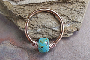 16g 18g 20g Rose Gold Helix Hoop Beaded Turquoise Nose Hoop Nose Ring Cartilage Hoop Tragus Hoop