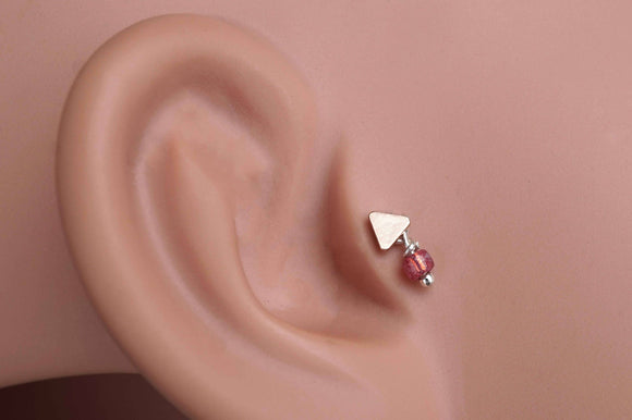 Rose Gold Triangle Tragus Earring Piercing Internally Threaded