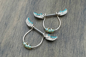 Blue Angel Wing Nipple Barbell Jewelry