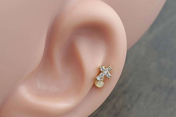 Cross Gold Tragus Earring Piercing 16g