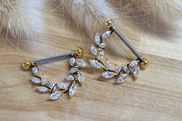 14g or 16g Crystal Leaf Gold Nipple Shield Nipple Ring Nipple Piercing
