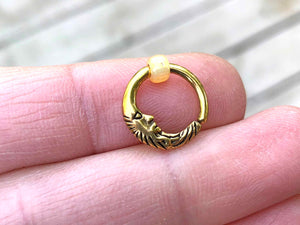 Man in the Moon Gold Daith Earring Rook Piercing Hoop