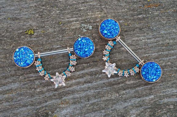 Blue Druzy and Crystal Star Rose Gold 14g Nipple Shield Nipple Ring Nipple Piercing