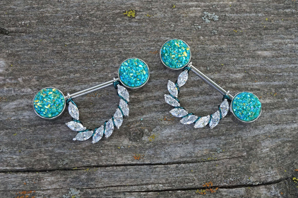 Teal Druzy and Marquise CZ 14g Nipple Shield Nipple Ring Nipple Piercing