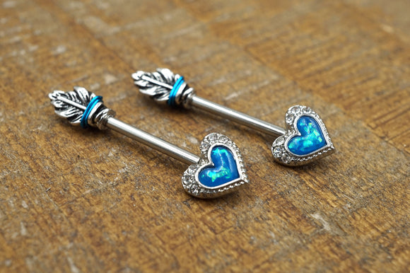 Blue Opal Heart Arrowhead Nipple Ring Nipple Barbell