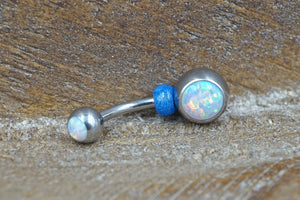 Simple White Opal Belly Button Ring