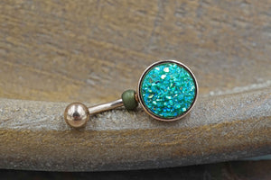 Teal Green Druzy Round Rose Gold Belly Button Ring - Short Belly Button Ring