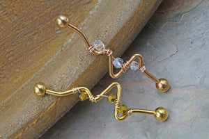 14 gauge Heartbeat EKG Industrial Barbell Gold or Rose Gold