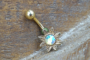 Aurora Borealis Sun Gold Belly Button Jewelry Ring
