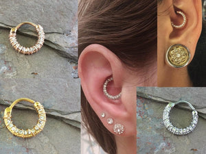 Daith Piercing Rook Earring Hoop Silver, Gold or Rose Gold Clicker