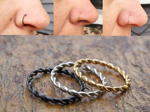 Gold, Silver or Black Braided Twisted Nose Ring Hoop