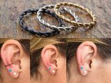 Gold, Silver or Black Braided Hoop Cartilage Hoop