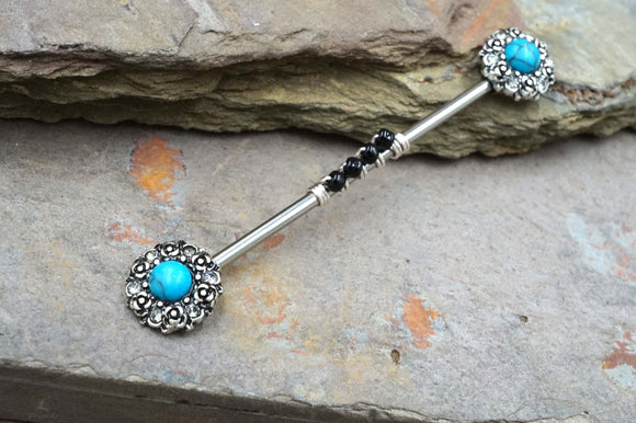 Turquoise Flower Crystal Industrial Barbell Scaffold Piercing