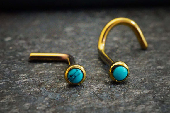 18g Turquoise Titanium Rose Gold Nose Stud L Bend Nose Ring