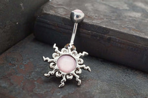 Pink Sun Silver Belly Button Navel Rings - Gift under 20