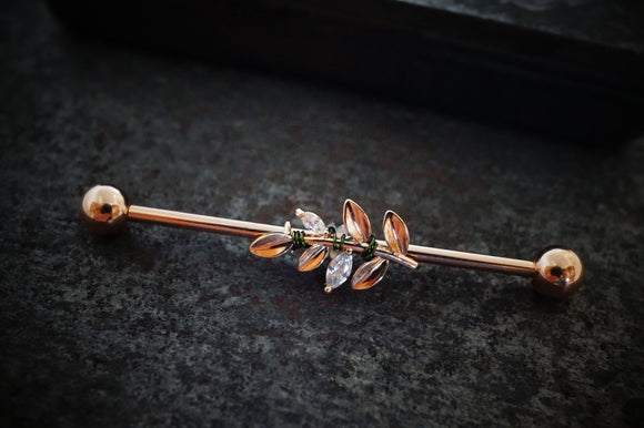 CZ Leaf Rose Gold Industrial Barbell 14g 16g Scaffold