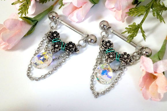 14g 16g Pear AB Crystal Flower and Chains Nipple Ring Nipple Jewelry
