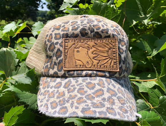 Leopard Print Ponytail Trucker Hat with Tooled Leather Horse and Sunflower Patch