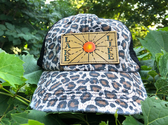 Leopard Print Ponytail Trucker Hat with Tooled Leather Lake Life and Sun
