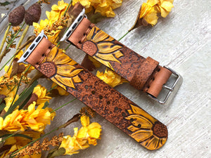 Ready to Ship - Leather Apple Watch Band with Double Yellow Sunflowers 38mm or 40mm