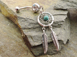 Turquoise Dream Catcher Belly Button Ring