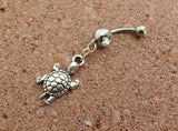 Turtle Belly Button Ring, Crystal Belly Ring