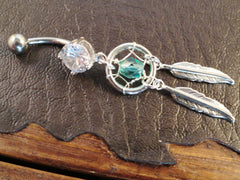 Teal Dream Catcher Belly Button Jewelry