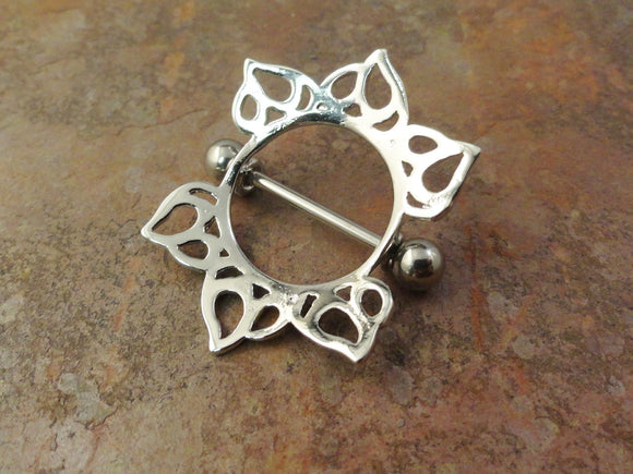 Tribal Sun Nipple Shield Jewelry Barbell 316L 14ga Piercing