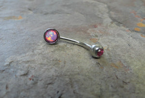 Pink Fire Opal Eyebrow Ring Rook Ear Piercing