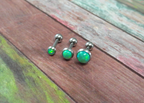 Light Peridot Green Opal Stud Cartilage Earring Tragus Helix Piercing You Choose Stone Size
